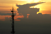 Telecom mast at sunset